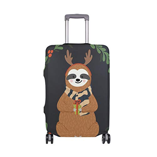 My Daily Cute Antlers Sloth Christmas Luggage Cover Fits 30-32 Inch Suitcase Spandex Travel