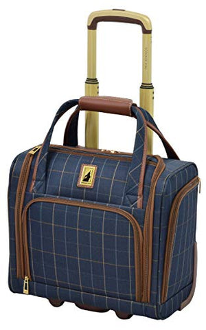 "London Fog Kensington II 15"" 2-Wheel Under The Seat Bag, Navy Window Pane"