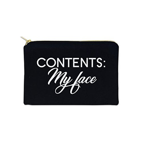 Contents: My Face 12 oz Cosmetic Makeup Cotton Canvas Bag - (Black Canvas)