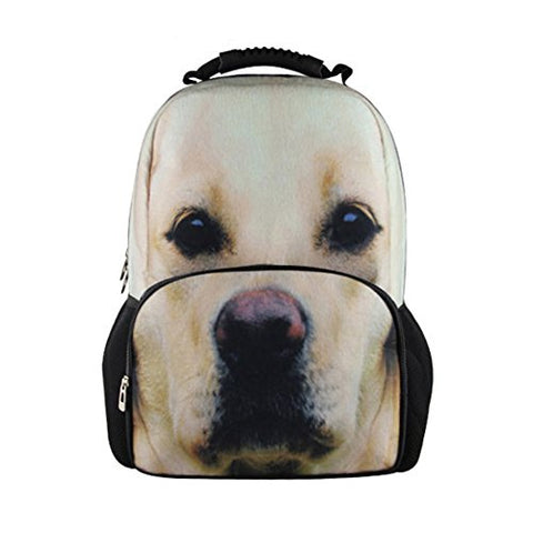 Bigcardesigns Boys 3D Animal Yellow Lab Back To School Rucksack Backpack