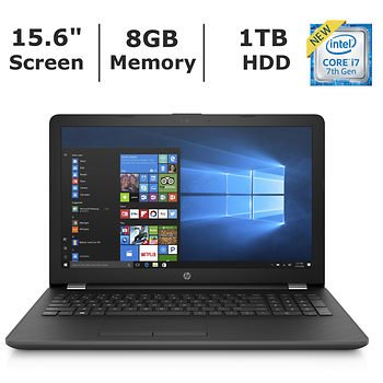 "HP 15.6"" HD WLED backlit 1366x768 display Laptop (2018 Newest), Intel Core i7-7500U dual-core 2.7GHz, 8GB RAM, 1TB HDD, 802.11ac, Bluetooth, HD Webcam, HDMI, media card reader, Windows 10 Home"