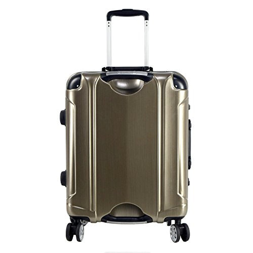 "TPRC 20"" ""Luna Collection"" Carry-On Luggage with Sturdy Aluminum Frame, WIDE-BODY, Dual 8-Wheel Spinner System, and TSA Locks, Brushed Gold Color Option"