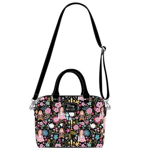 Loungefly x Beauty and the Beast Belle Floral Print Duffel Purse (One Size, Black Multi)