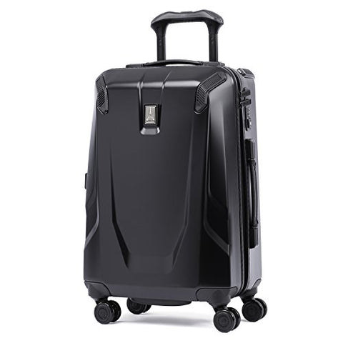 "Travelpro Luggage Crew 11 21"" Carry-on Slim Hardside Spinner w/USB Port, Obsidian Black/Blue Interior"