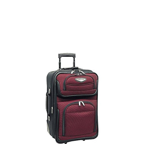 "Traveler'S Choice Amsterdam 21"" Expandable Carry-On Rolling Luggage In Burgundy"