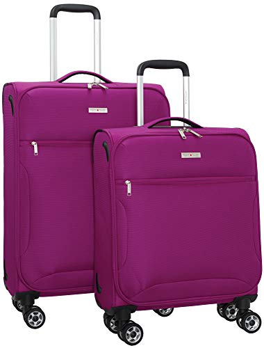 Regent Square Travel - Expandable Softside Luggage Set With Spinner Goodyear Wheels - Set of 2 Pieces - Soft Case - Fuchsia