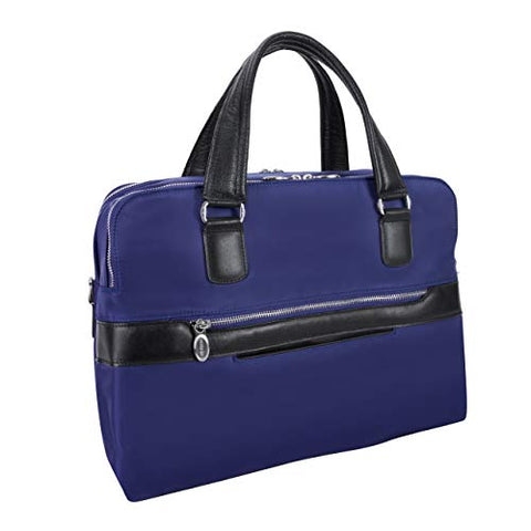 McKlein, N Series, Hartford, Nano Tech-Light Nylon with Leather Trim, Nylon Dual Compartment Briefcase, Navy (18587)