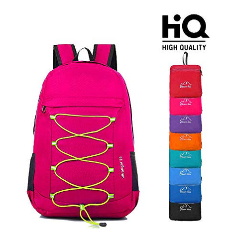 CLEVER BEES Outdoor Water Resistant Hiking Backpack, Fuchsia