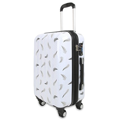 J World New York Women'S Art Polycarbonate Carry-On Luggage, Feather
