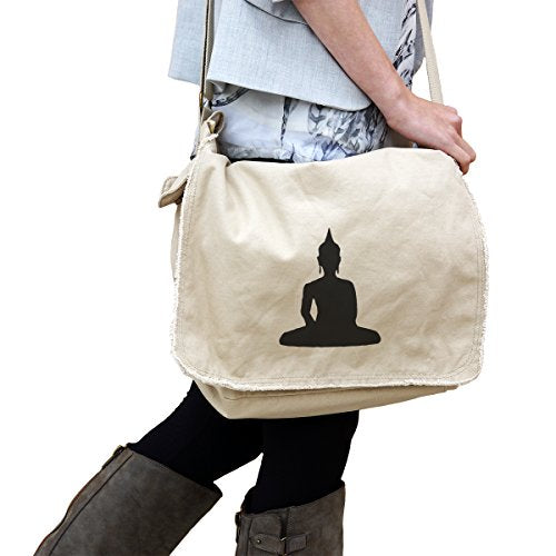 Buddha Buddism Enlightenment 14 oz. Authentic Pigment-Dyed Raw-Edge Messenger Bag Tote