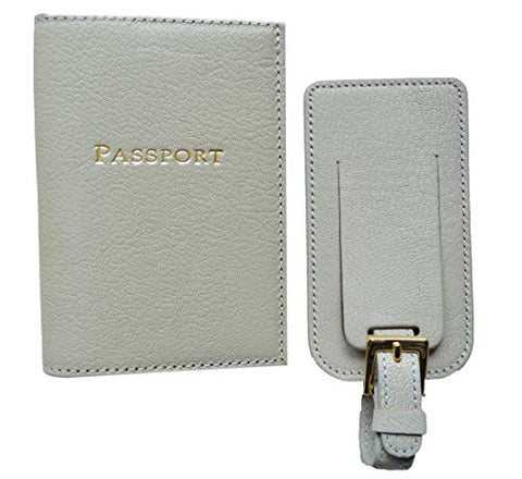 Graphic Image - Goatskin Leather - Passport Case & Luggage Tag - Light Grey