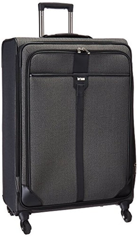 Hartmann Herringbone Luxe Softside Long Journey Expandable Spinner, Black Herringbone, One Size