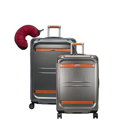 "Ricardo Beverly Hills Ocean Drive | 3-Piece Set | 25"" and 29"" Spinners, Travel Pillow (Silver)"