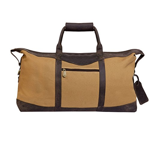 Canyon Outback Utah Canyon Collection 22 Inch Canvas And Leather Duffel Bag, Beige/Brown, One Size