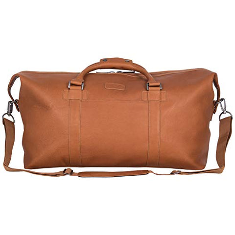 "Kenneth Cole Reaction I Beg to Duff-er Colombian Leather 20"" Single Compartment Top Zip Travel Duffel Bag, Cognac"