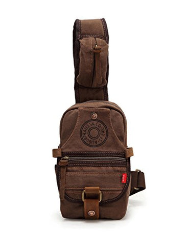 Men's Designed Small Chest Pack Purse Cross-body Shoulder Bag Cotton Canvas Leather Backpack