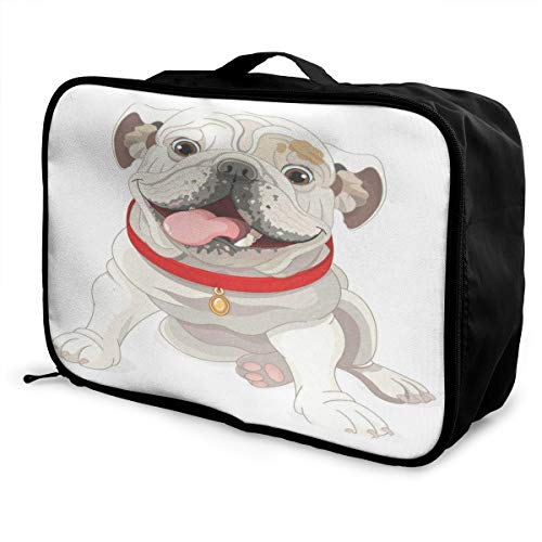 Travel Bags English Bulldog Portable Storage Trolley Handle Luggage Bag