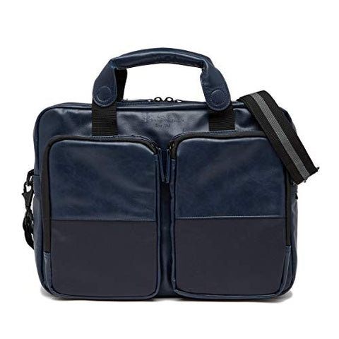 "Ben Sherman Keats Grove Leather Top Zip 15.6"" Computer Briefcase in Navy"