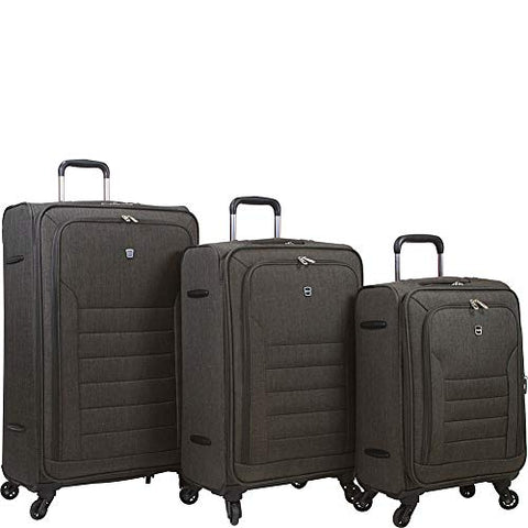 Dejuno Noir Lightweight 3-Piece Spinner Luggage Set with Laptop Pocket-Black