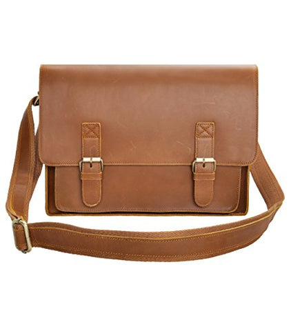 Leather Messenger Bag Zlyc 15.6 Inch Macbook Laptop Bag Vintage Briefcase Men Shoulder Bag