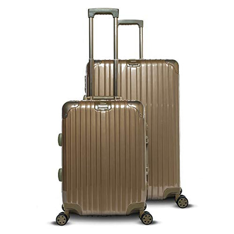 Gabbiano Aurora Collection Aluminum Frame 2-Piece Luggage Set with Dual TSA locks (Titanium Gold)