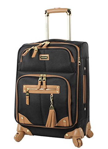 "Steve Madden Luggage Carry On 20"" Expandable Softside Suitcase With Spinner Wheels (20in, Harlo Black)"