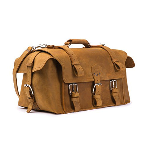Saddleback Leather Side Pocket Duffel - Best Carry On, Travel Duffel Bag - 100 Year Warranty