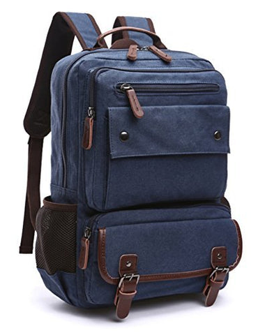Aidonger Canvas School Bag Laptop Backpack Hiking Rucksack (Blue)