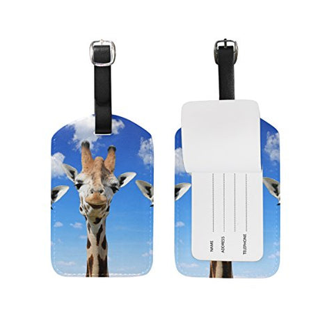 Travel Luggage Tag Funny Giraffes Pu Leather Baggage Suitcase Tag Name Address Id Label 1 Piece