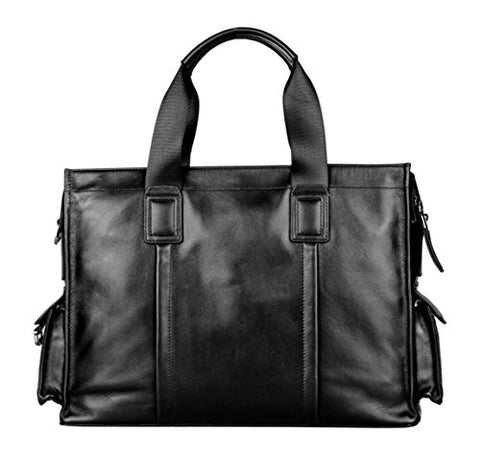 Saierlong New Mens Black Genuine Leather Briefcase Shoulder Laptop Business Bag