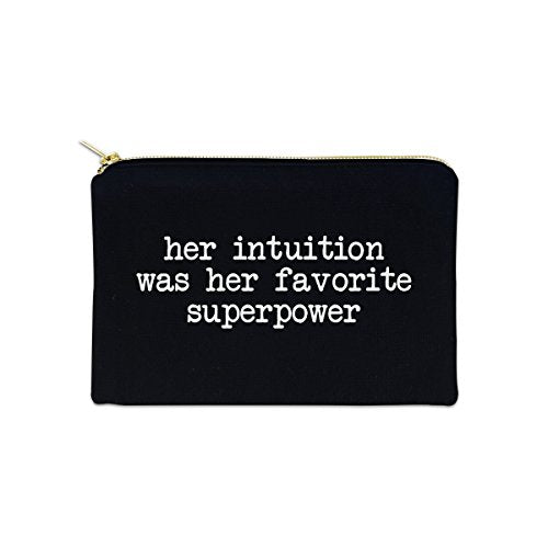 Her Intuition Was Her Favorite Superpower 12 oz Cosmetic Makeup Cotton Canvas Bag - (Black Canvas)