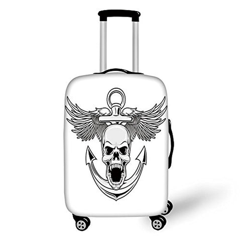 Travel Luggage Cover Suitcase Protector,Anchor Decor,Skull with Anchor and Eagle Wings Freedom