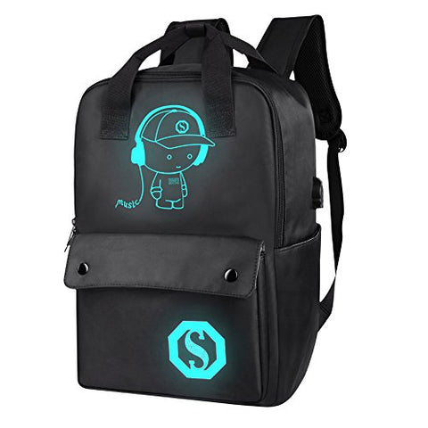 Teen Boy Girl Laptop Backpack W/ Usb Charging Port, Unisex Luminous Lightweight Waterproof