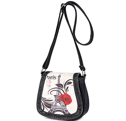 Bibitime Hollow Leaves Paris Tower Flower Print Beach Shoulder Crossbody Messenger Bag Cross Body