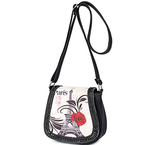 BIBITIME Hollow Leaves Paris Tower Flower Print Beach Shoulder Crossbody Messenger Bag Cross Body Bag Travel Bag Back to School University /College Campus Bag Shopping Bag ,Black