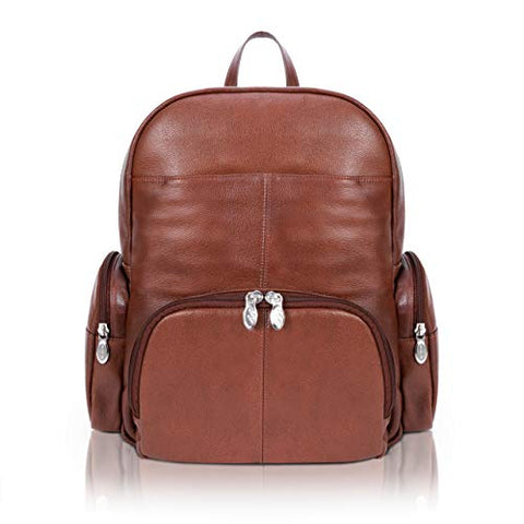 "McKlein, S Series, Cumberland, Pebble Grain Calfskin Leather, 15"" Leather Dual Compartment Laptop Backpack, Brown (88364)"