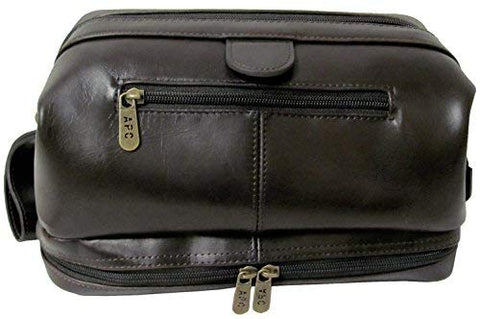 AmeriLeather Toiletry Bag with Bonus Accessories (Black)