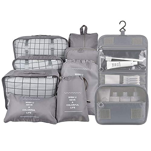 Belsmi 9 Set Packing Cubes With Shoe Bag - Compression Travel Luggage Organizer (9pcs Grey)