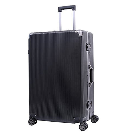 "Aluminum Frame Luggage TSA Approved Suitcase Hardside PC Carry On Spinner 20"", Black"