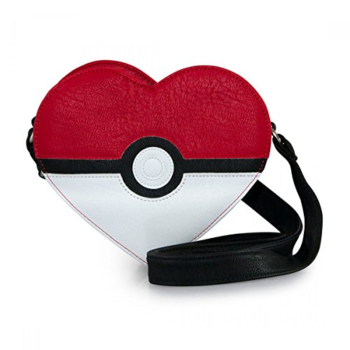 Loungefly Pokemon Pokeball Heart Faux Leather Cross Body Purse Standard, Black,red,white