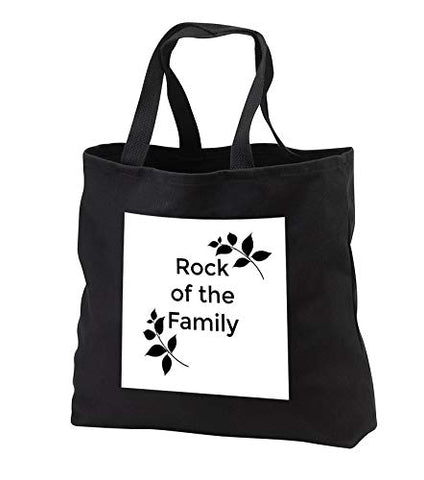 Carrie Merchant 3drose quote - Image of Rock of The Family - Tote Bags - Black Tote Bag JUMBO 20w x