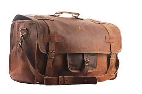 "Cuero 20"" Mens Retro Style Carry on Luggage Flap Duffel Leather Duffel Bag"