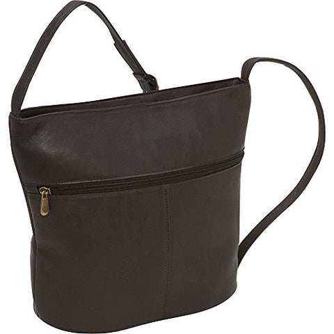 Le Donne Leather Bucket Shoulder Bag (Cafe)