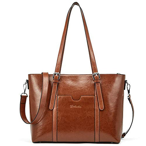"BOSTANTEN Women Leather Laptop Shoulder Handbag Vintage Briefcase 15.6"" Computer Work Tote Bag"