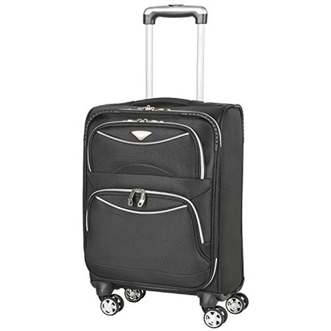 Flight Knight Lightweight 8 Wheel 1680D Soft Case Suitcases Maximum Size For Delta, United and SkyWest - Cabin Black FK0040_S
