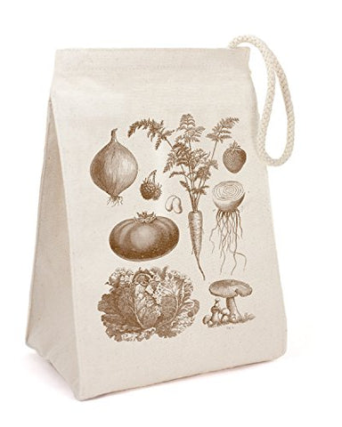Cognitive Surplus Deluxe Eco-Friendly Recycled Cotton Vintage Veggies Lunch/Cosmetics Small Bag