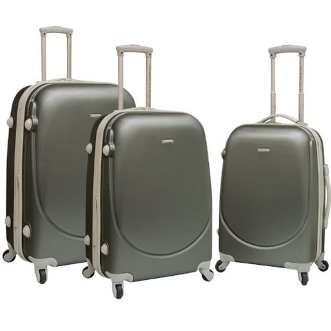 Travelers Polo & Racquet Club Tprc Barnet 3-Piece Expandable Spinner Luggage Set, Silver, One Size