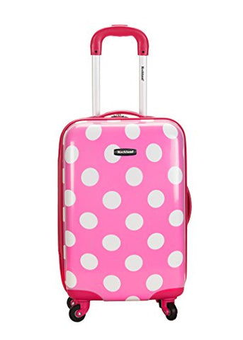 Rockland Luggage 20 Inch Polycarbonate Carry On, Pink Dot, One Size