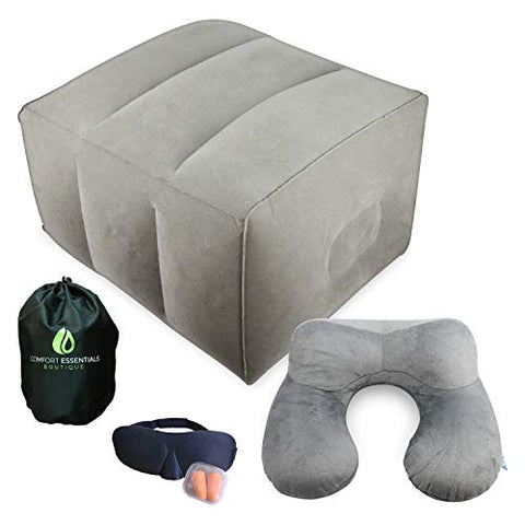 Inflatable Foot Rest | Comfortable, Customizable Height and Portable | Perfect For Long Distance Travel | Includes Bonus Travel Kit | Inflatable Neck Pillow, Eye Mask and Ear Plugs