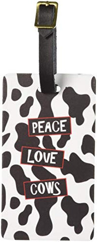 Graphics & More Peace Love Cows Luggage Tags Suitcase Carry-on Id, White